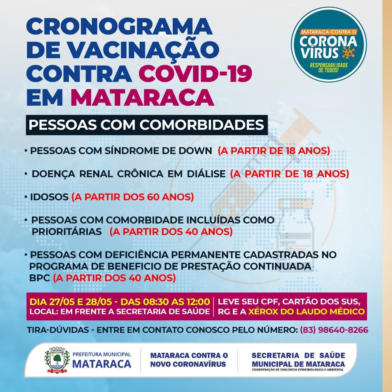 CRONOGRAMA DE VACINAÇÃO CONTRA O COVID-19 EM MATARACA